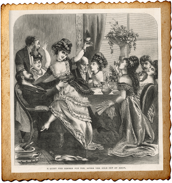 People enjoying a dinner party after visiting Ascot. Date: 1871 By Archivist