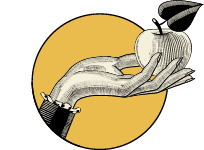 Hand holding out an apple