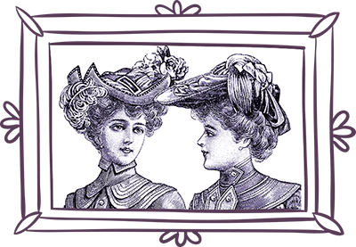 portrait of two women with vintage hats - line frame